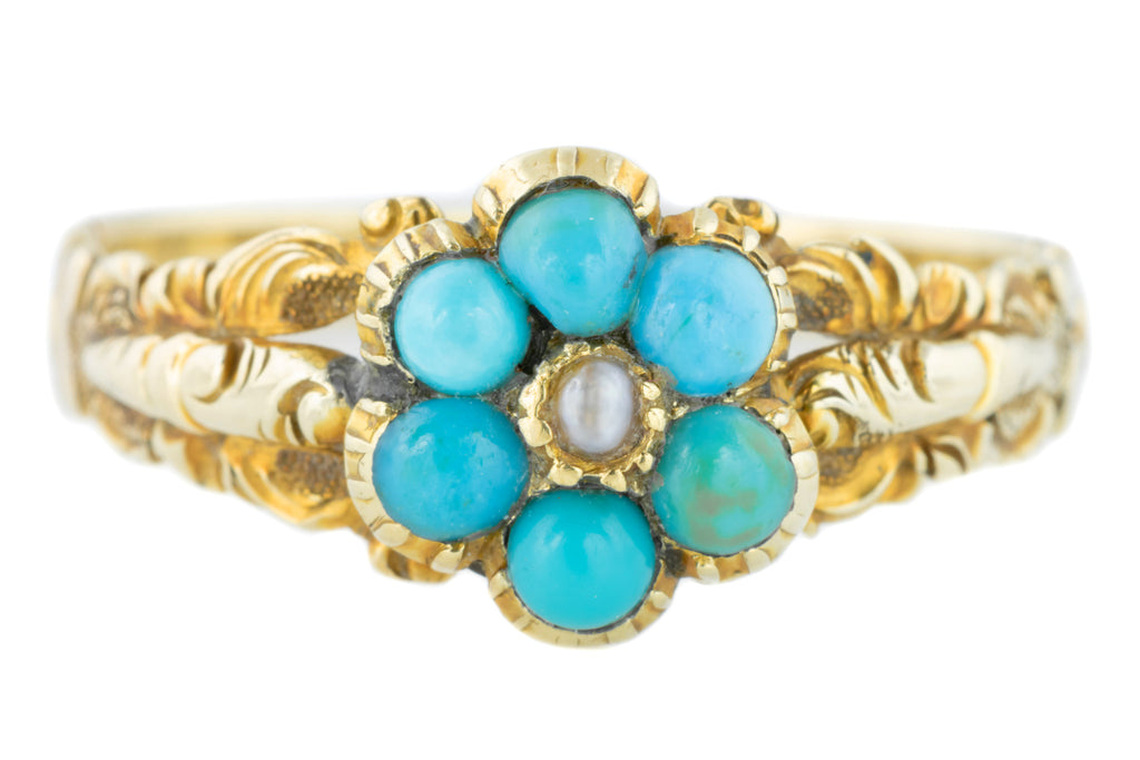 Victorian 18ct Gold Cluster Ring with Turquoise and Pearl
