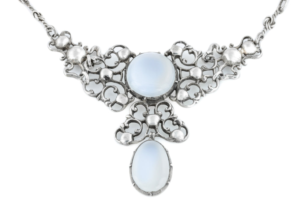 Rare Arts and Crafts Era Moonstone Drop Necklace