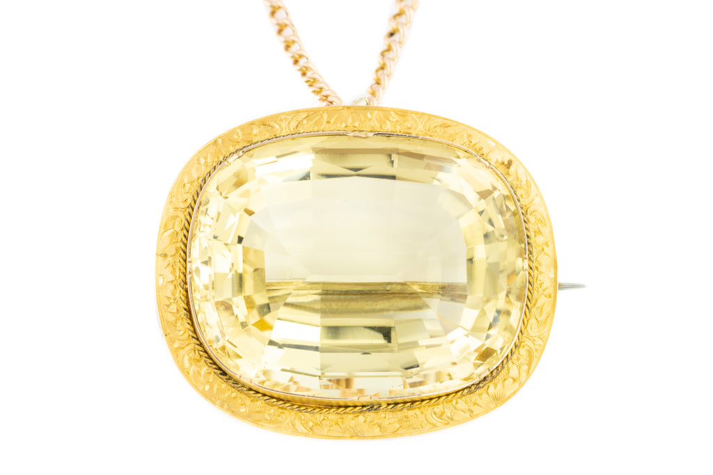 15ct Gold Antique Citrine Brooch Pendant - (57.5ct)