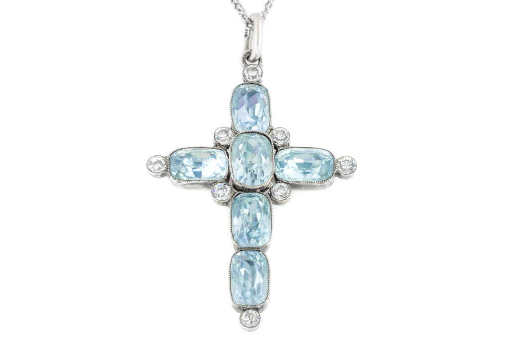 Victorian Paste Silver Cross Pendant with Chain c.1900