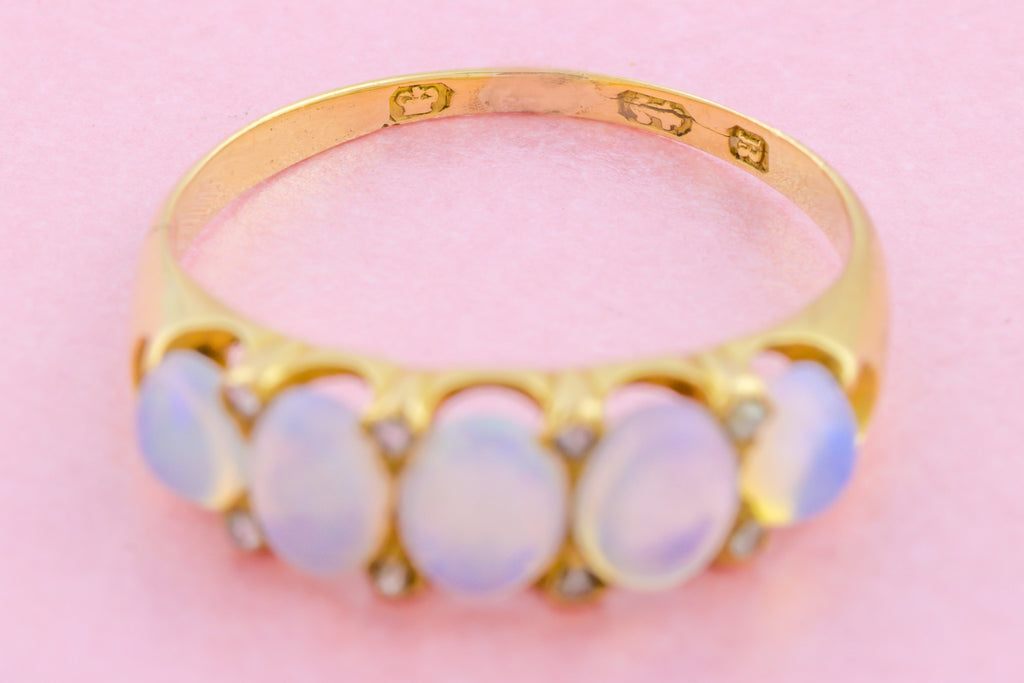 18ct Gold Antique Opal Five Stone Ring c.1866