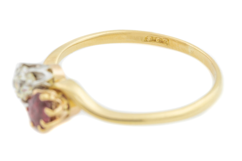 "Antique 18ct Gold Ruby and Diamond ""Toi et Moi"" Ring"