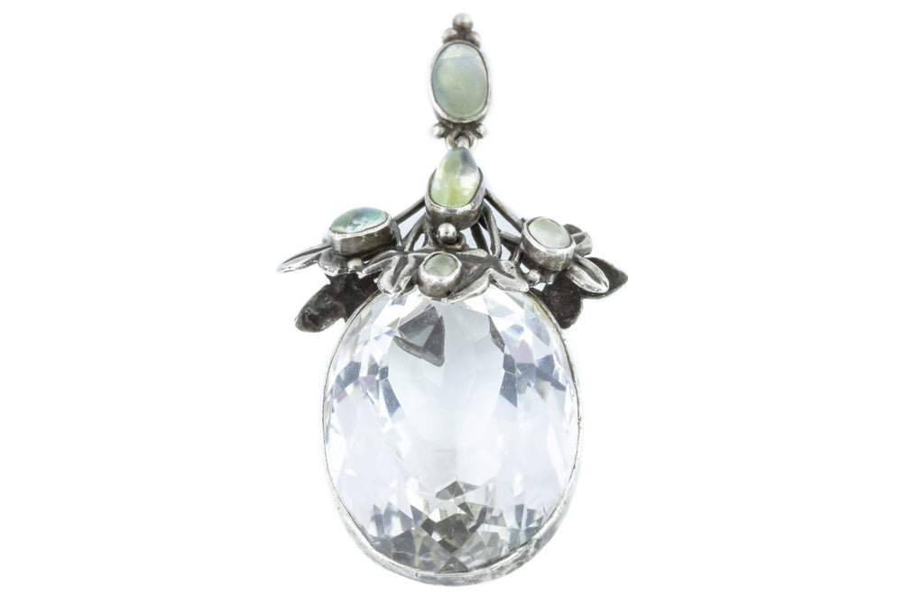 Art and Crafts Era Moonstone and Rock Crystal Pendant