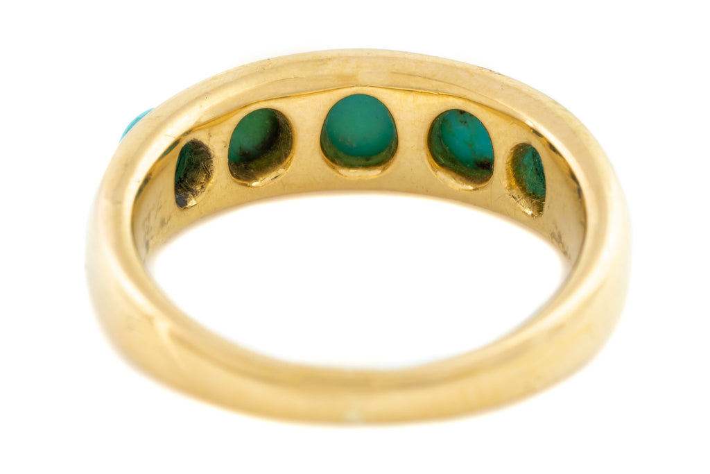 Victorian Five Stone Turquoise Ring in 18ct Gold