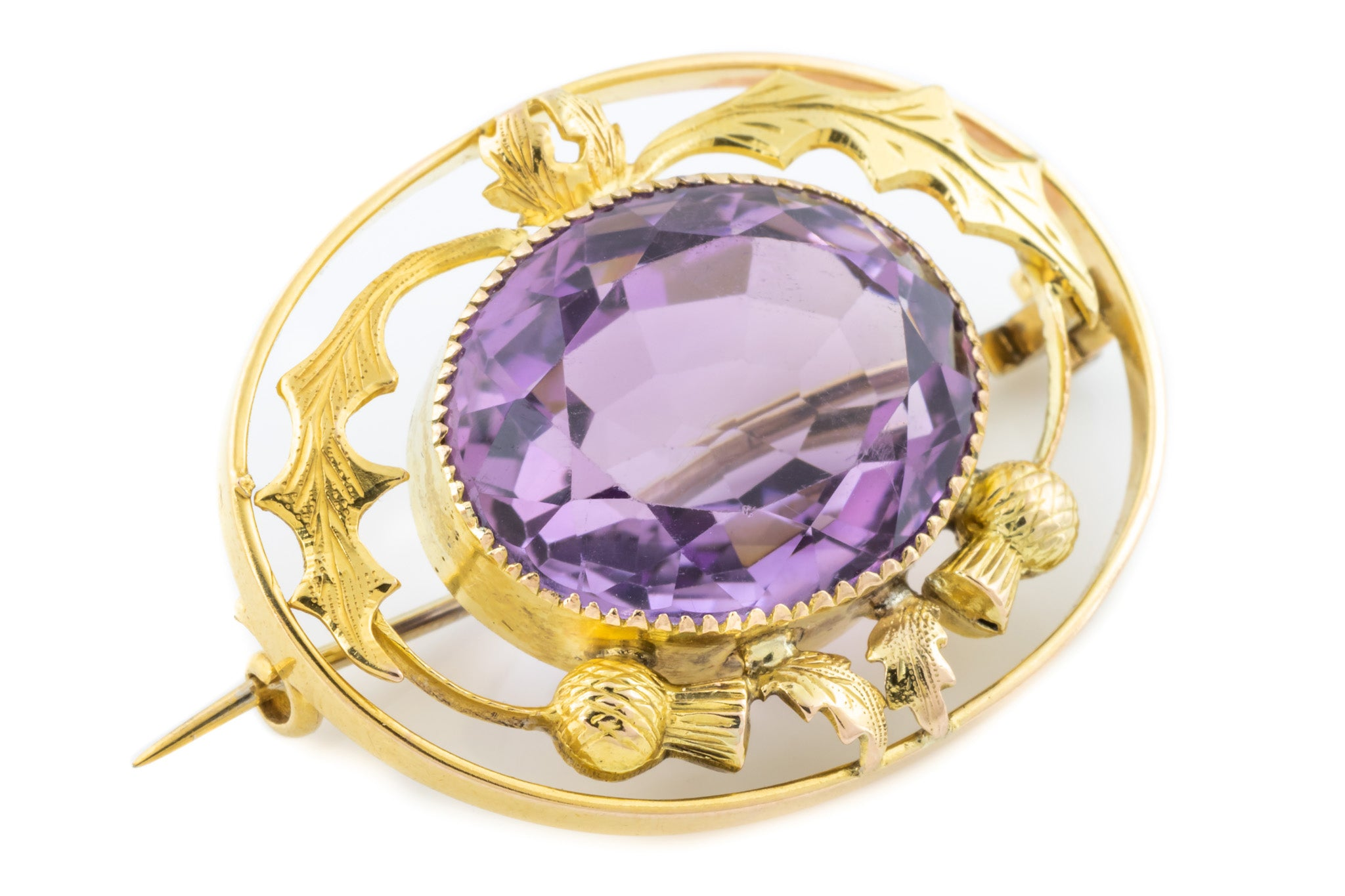 7d72bcc337190 Antique Amethyst Brooch with 9ct Gold Scottish Thistle Motif (13.47 ...