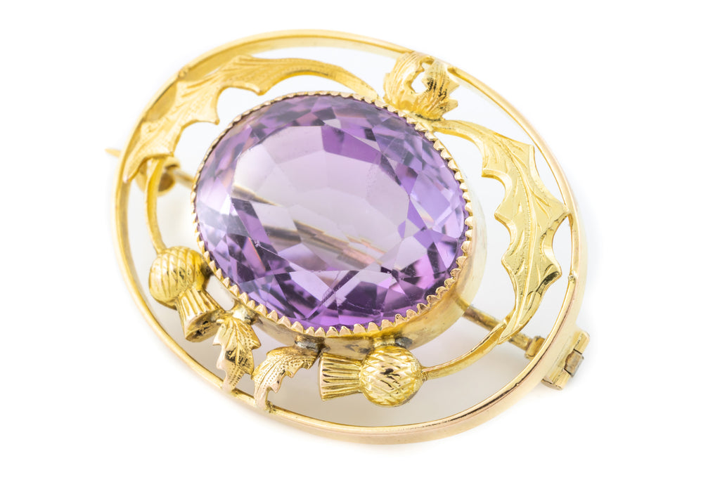Antique Amethyst Brooch with 9ct Gold Scottish Thistle Motif (13.47ct)