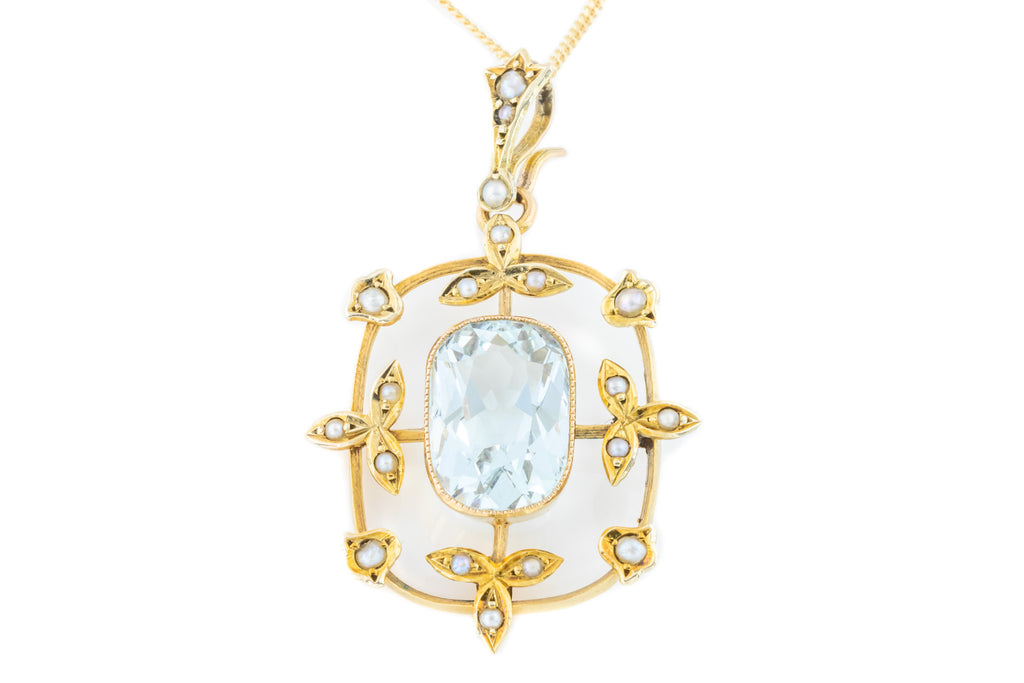 Art Nouveau Aquamarine and Pearl Pendant