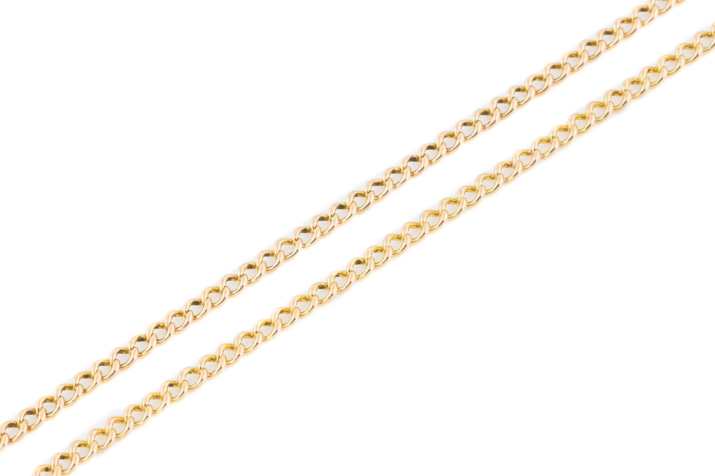 Long Antique 9ct Rose Gold Curb Chain - (9g)