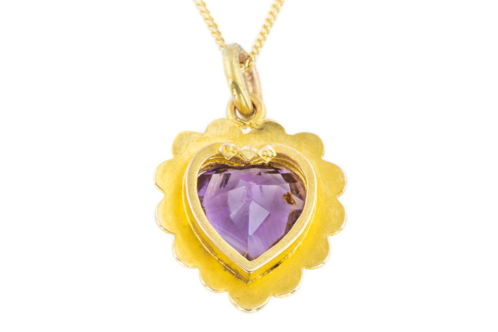 Victorian 15ct Gold Amethyst Heart Pendant (3.28ct)
