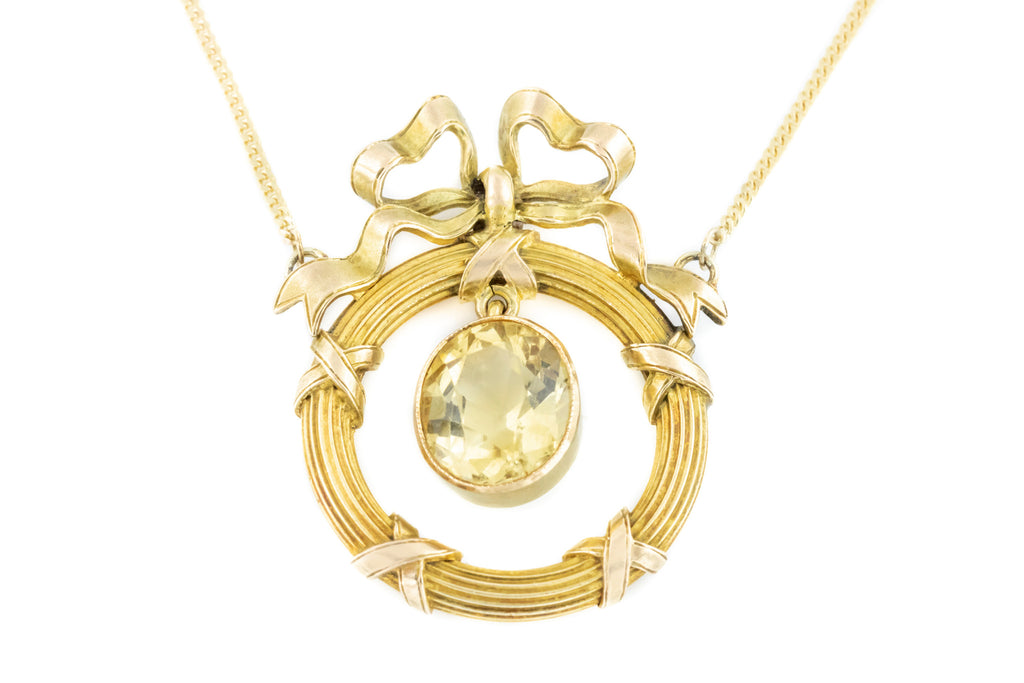 Art Nouveau 14ct Gold Pendant with Citrine Drop (2.22ct)