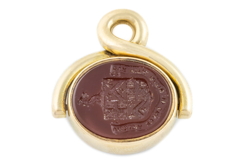 Antique 15ct Gold Fob Pendant, with Coat of Arms Intaglio