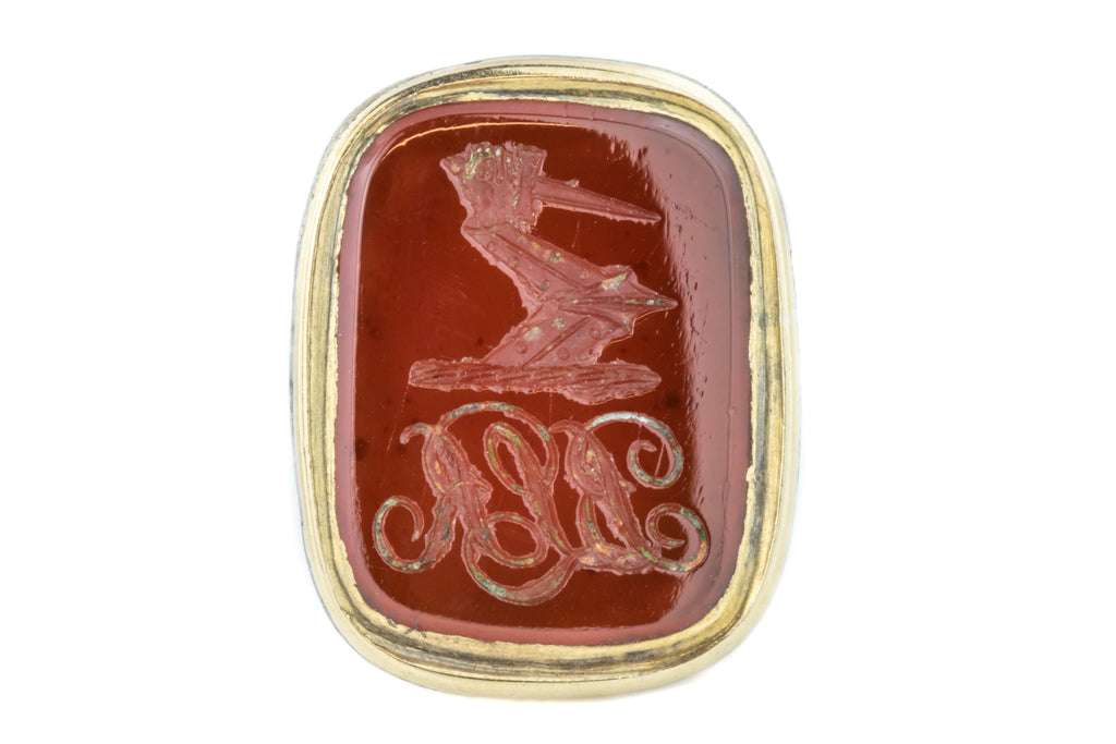 Antique Carnelian Wax Seal Fob Pendant, Dagger in Hand Intaglio