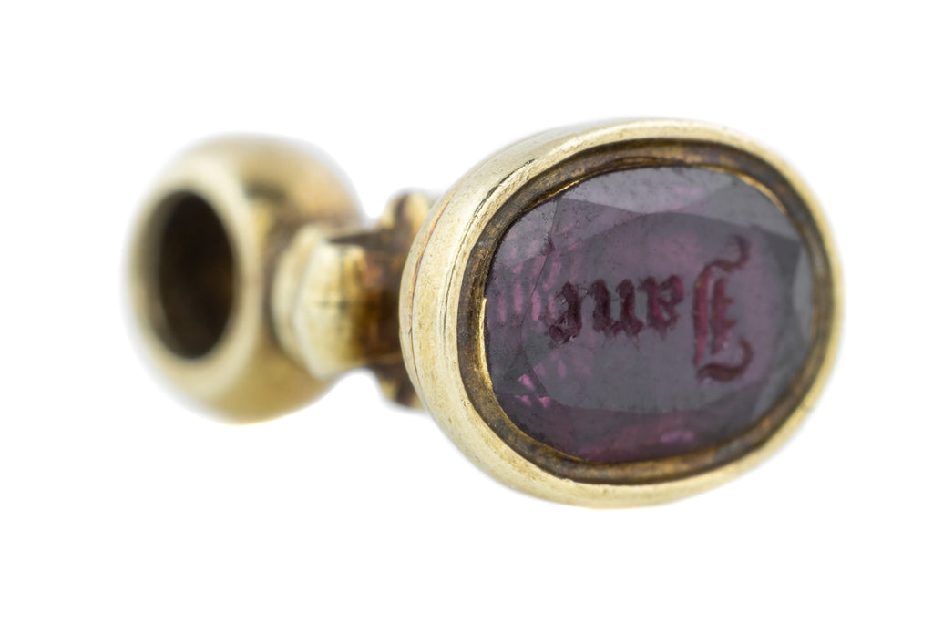 "Georgian Garnet Wax Seal Fob Pendant, ""Jane"" Intaglio"
