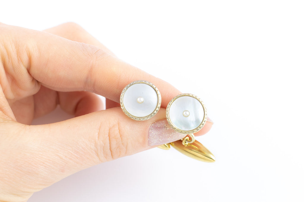 Art Deco Gold Cufflinks with Mother of Pearl Inlay