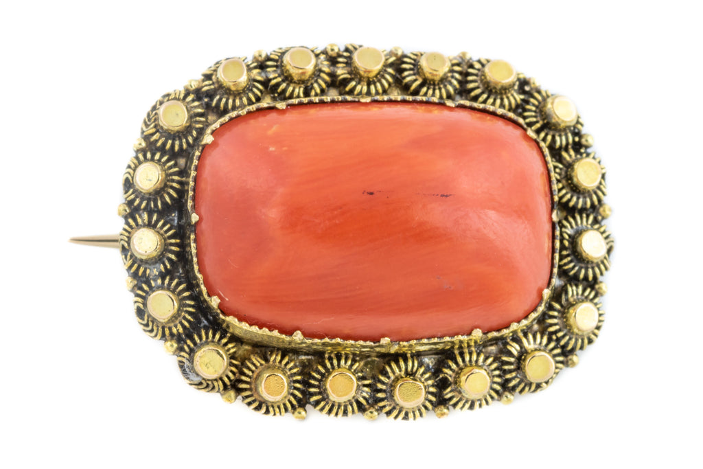 Victorian 15ct Gold Coral Brooch