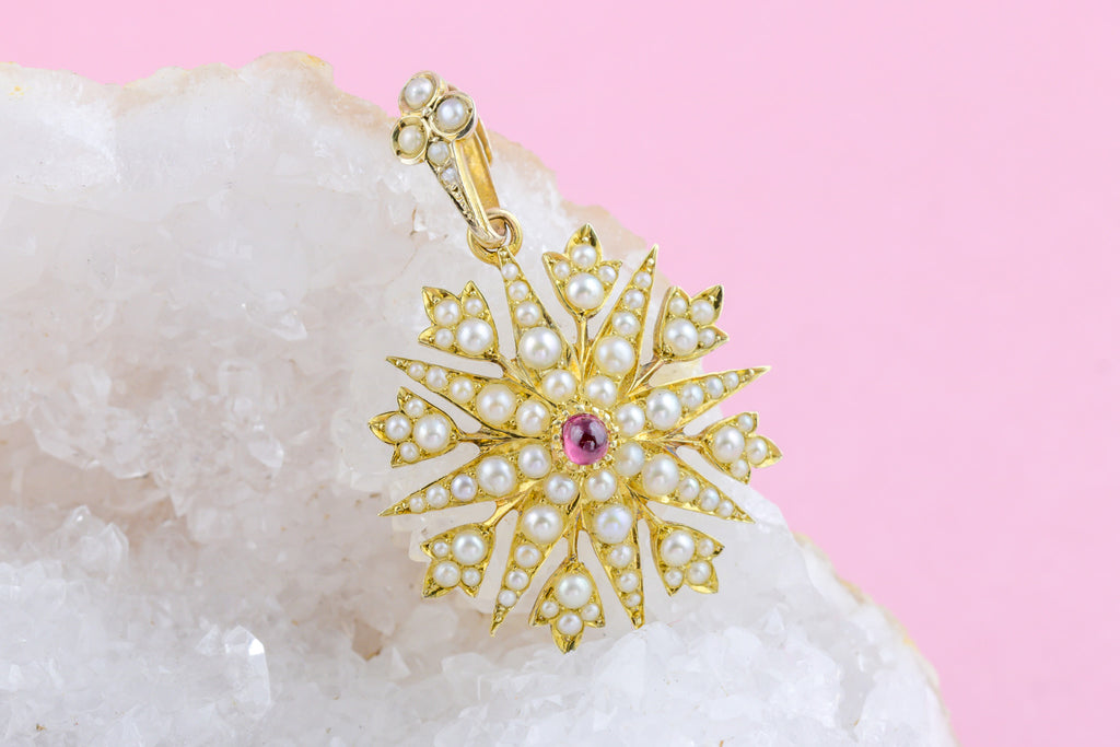 Rare 15ct Gold Antique Ruby and Pearl Starburst Pendant