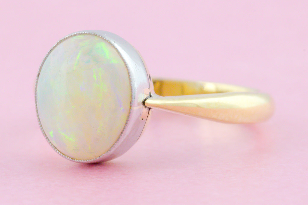 Antique 1.70ct Opal Solitaire Ring in 18ct Yellow Gold and Platinum
