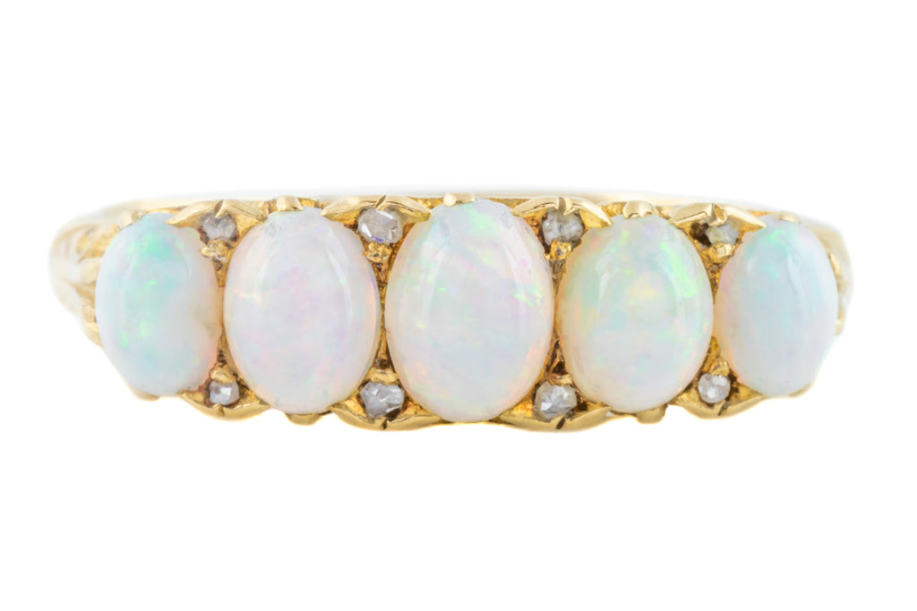 Antique Five Stone Opal Ring with Diamond Spacers