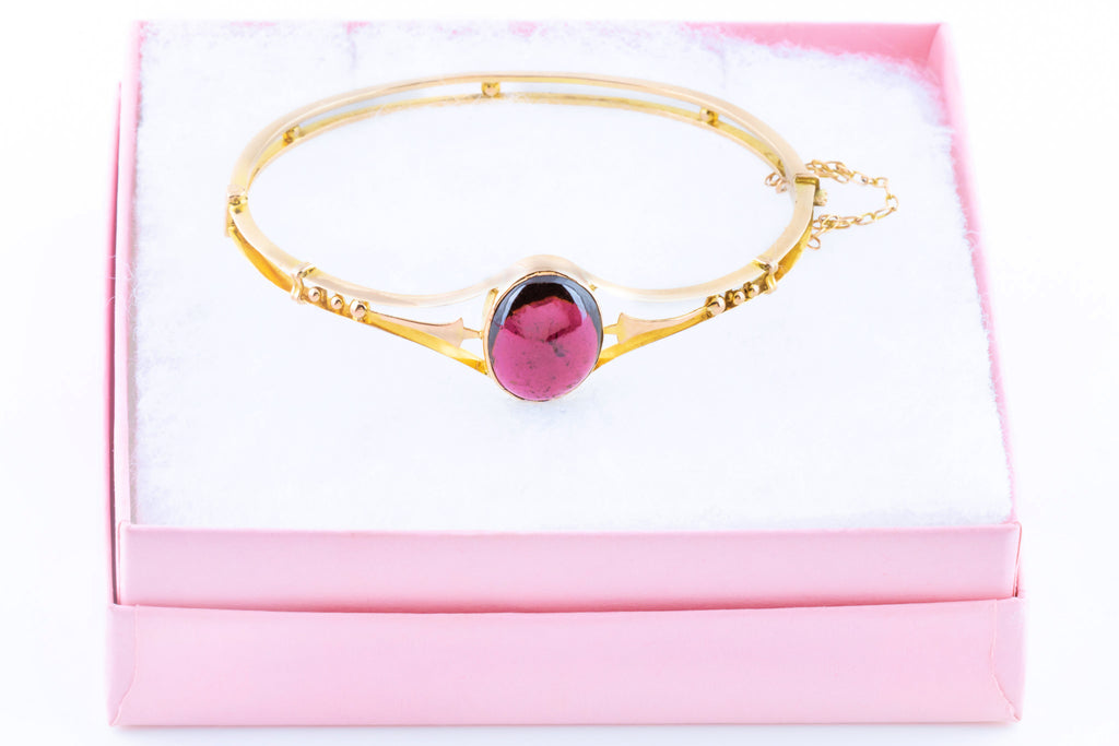 9ct Gold Victorian Garnet Bangle