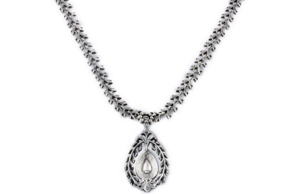 Antique Silver Paste Drop Pendant Necklace