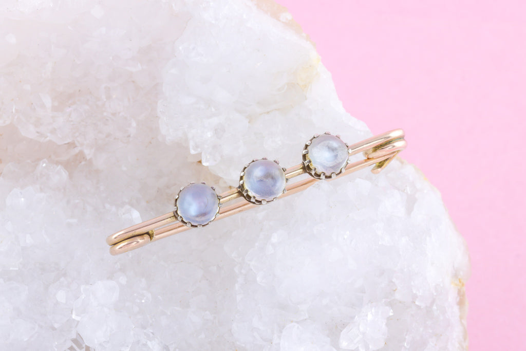 9ct Gold Victorian Moonstone Brooch