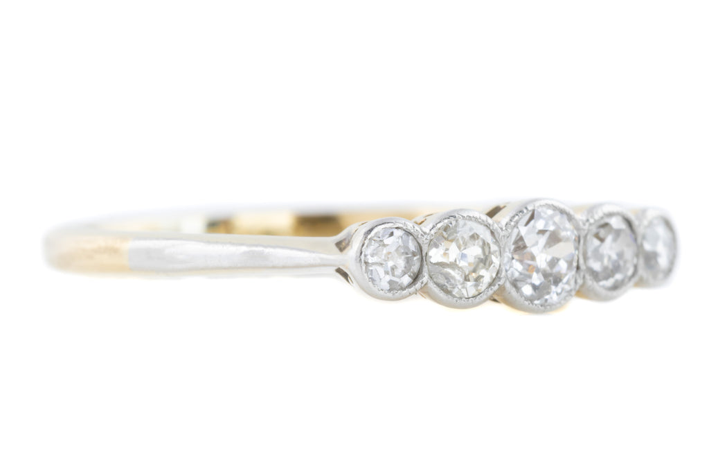 Art Deco 18ct Gold and Platinum Five Stone Diamond Ring (0.30ct)