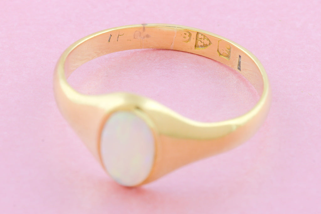 Art Deco 18ct Gold Opal Ring (0.36ct)