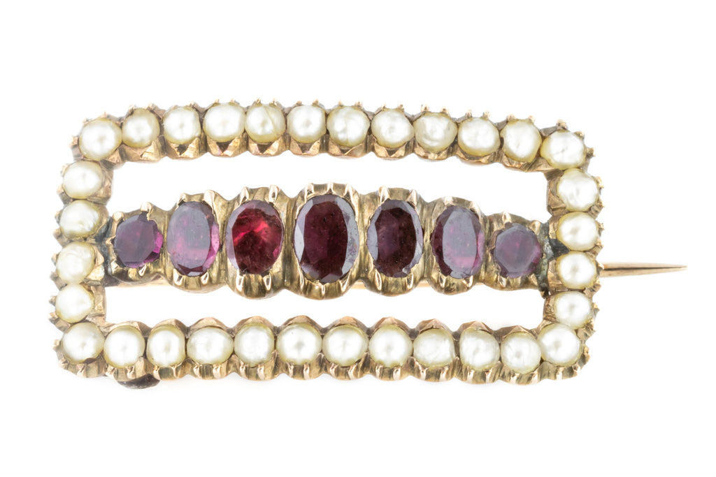 Georgian Garnet and Pearl Brooch c.1780