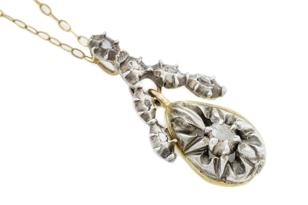 Georgian Diamond Drop Pendant in 15ct Gold and Silver with Chain