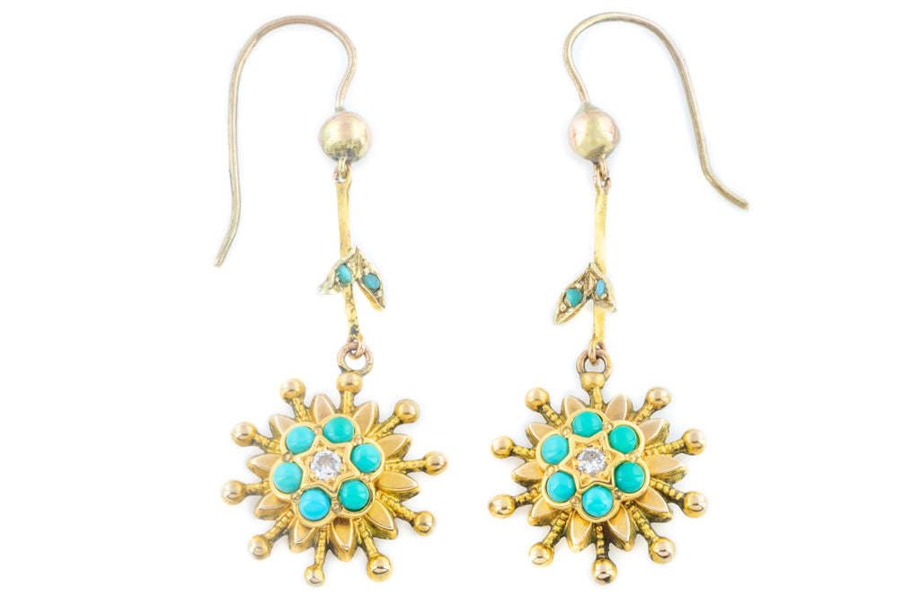Antique 9ct Gold Drop Earrings with Diamond and Turquoise