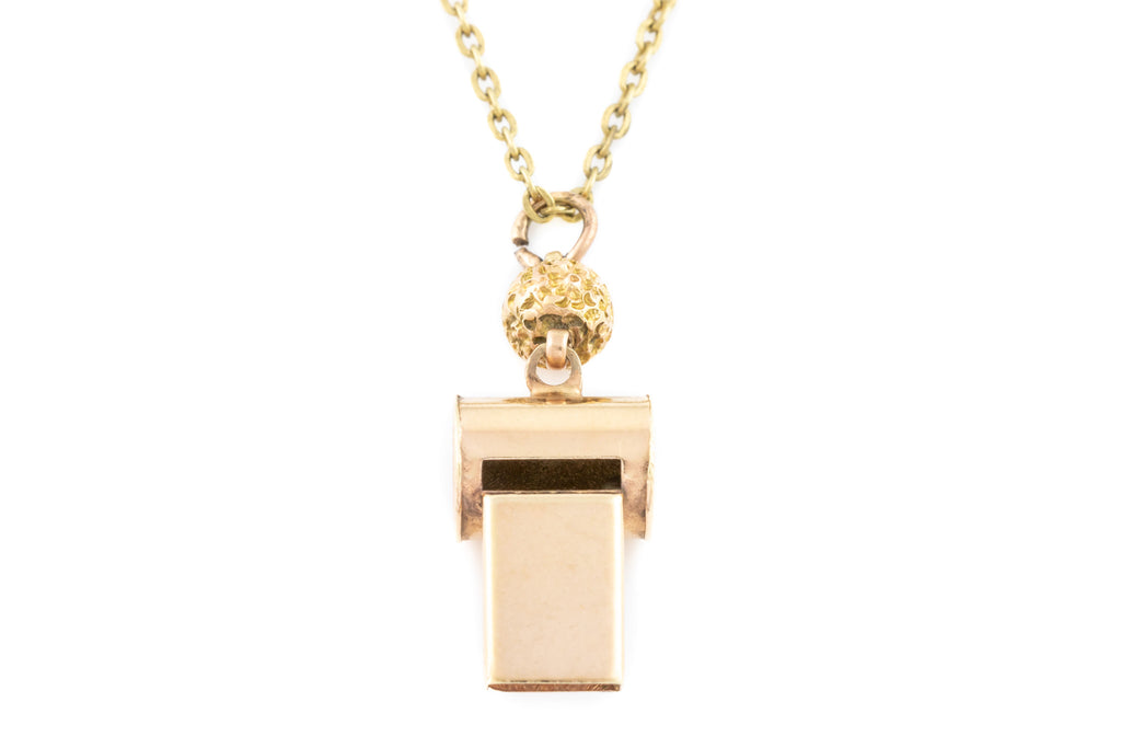 Antique 9ct Gold Whistle Pendant, with Chain