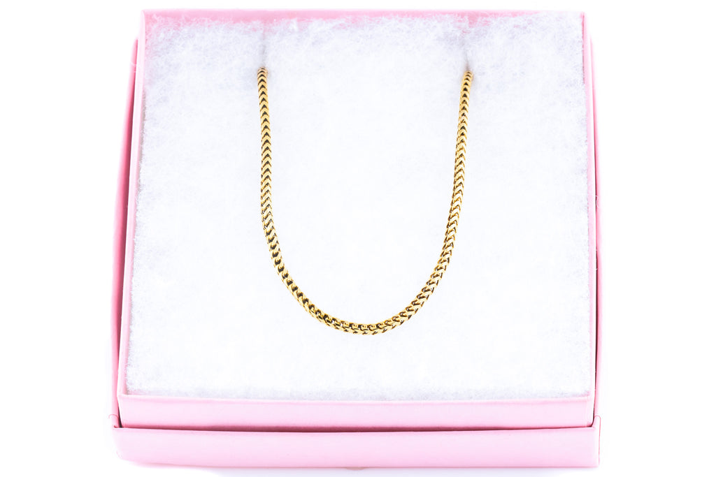 Antique 9ct Gold Snake Chain Necklace, 16""