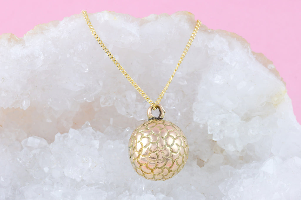 "Victorian 9ct Gold Sphere Charm Pendant, with 18"" Chain"