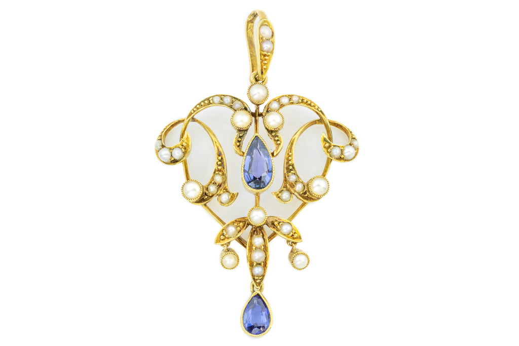 Antique Sapphire and Pearl Drop Pendant (0.78ct)