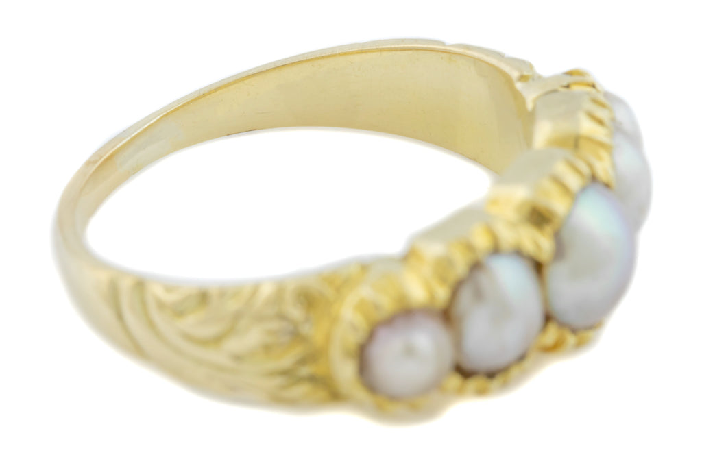 Antique 18ct Gold Five Pearl Ring c.1850