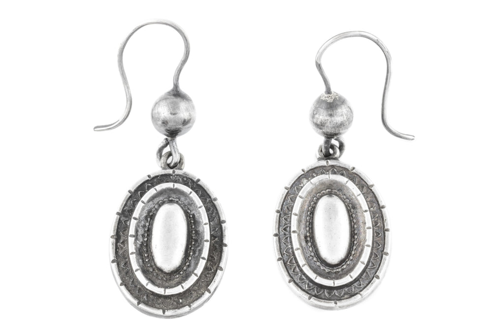 Victorian Repousse Silver Drop Earrings c.1880