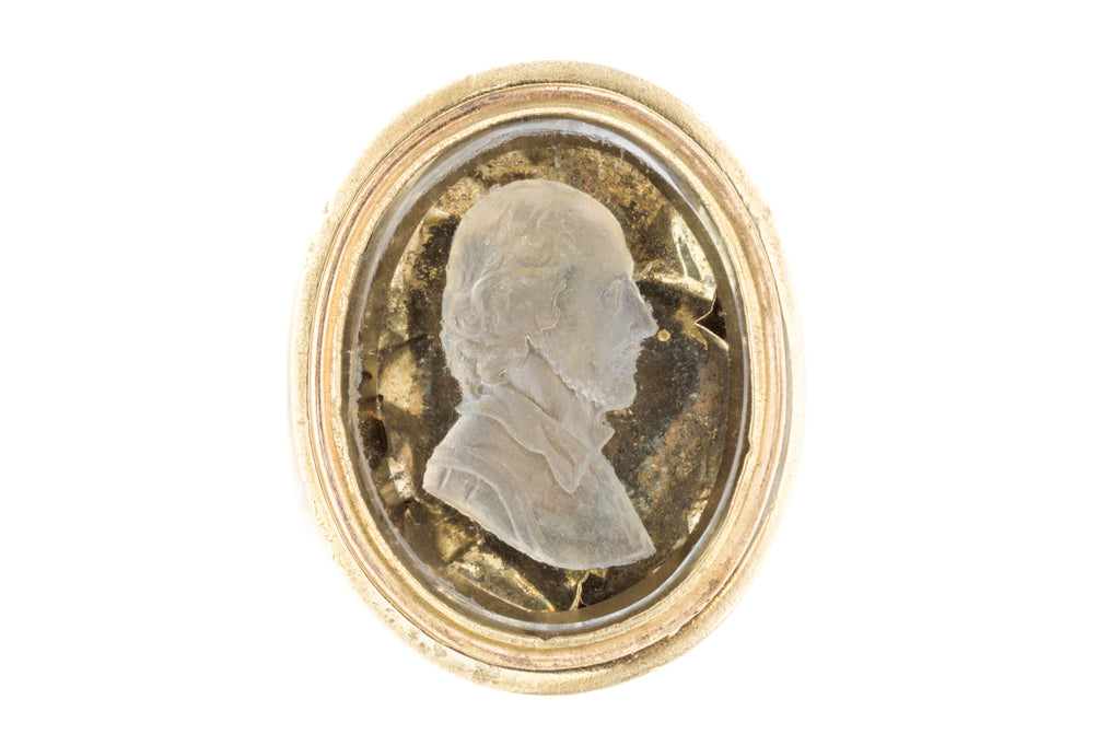 Large Victorian Fob Pendant with Portrait Intaglio Engraving