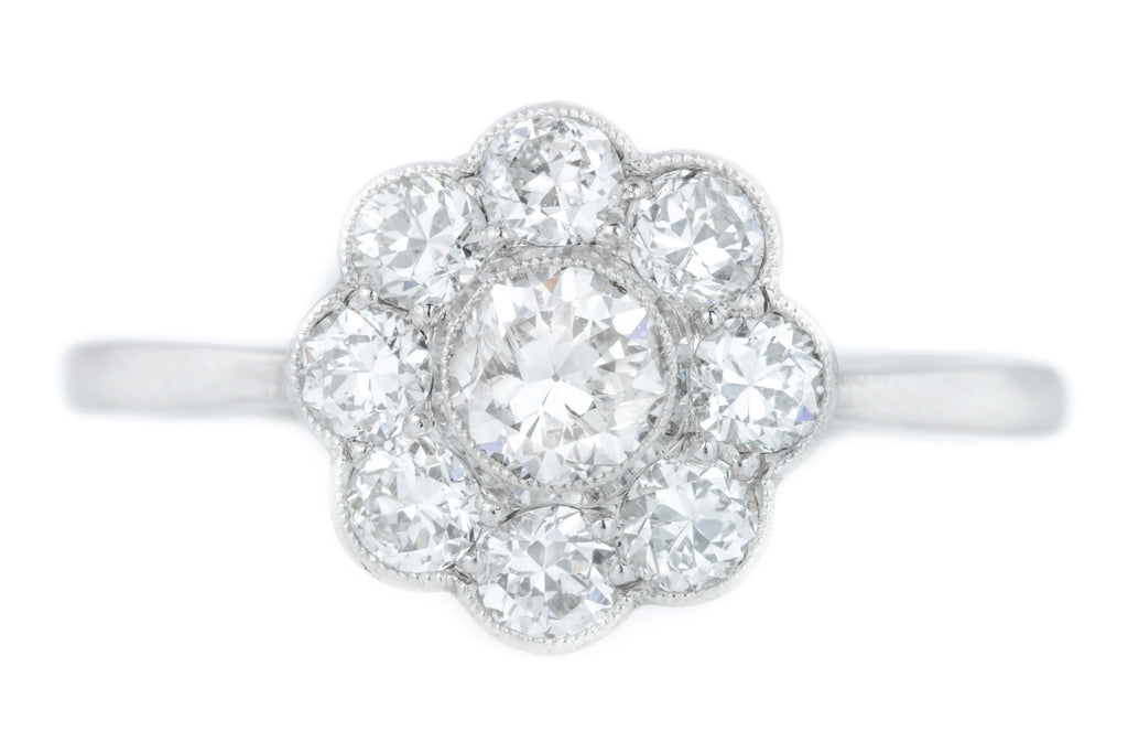 18ct White Gold Art Deco Diamond Cluster Ring (0.80ct)