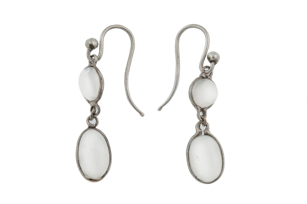 Edwardian Silver Moonstone Drop Earrings, (2.40ct)