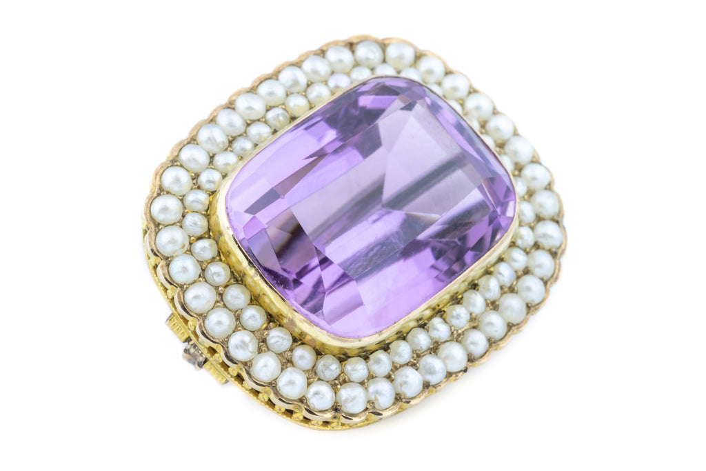 Antique Amethyst and Pearl Brooch Pendant in 15ct Gold - (14.82ct)