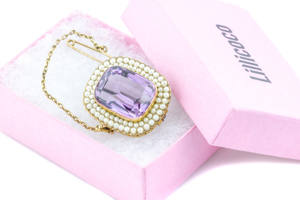 Antique Amethyst and Pearl Brooch Pendant (14.82ct)