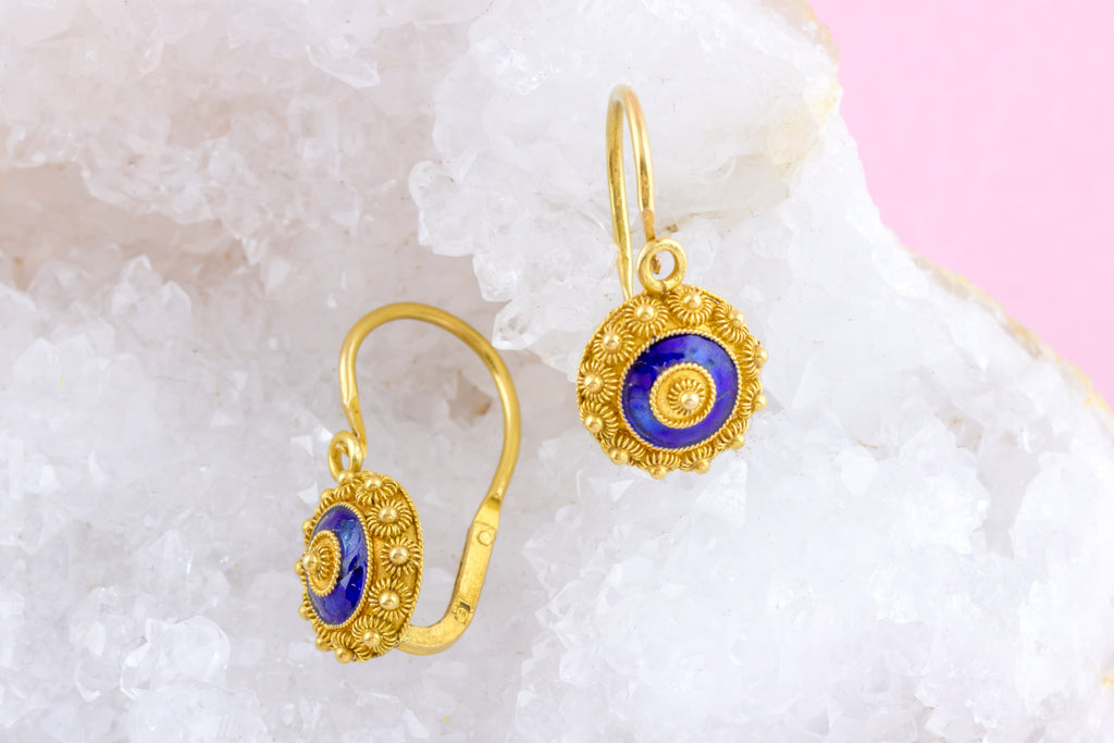 Victorian 18ct Gold Etruscan Earrings