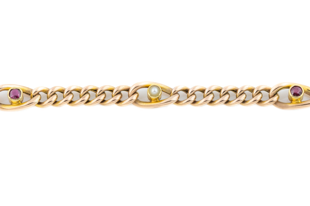 Victorian 9ct Gold Curb Bracelet with Rubies and Pearls