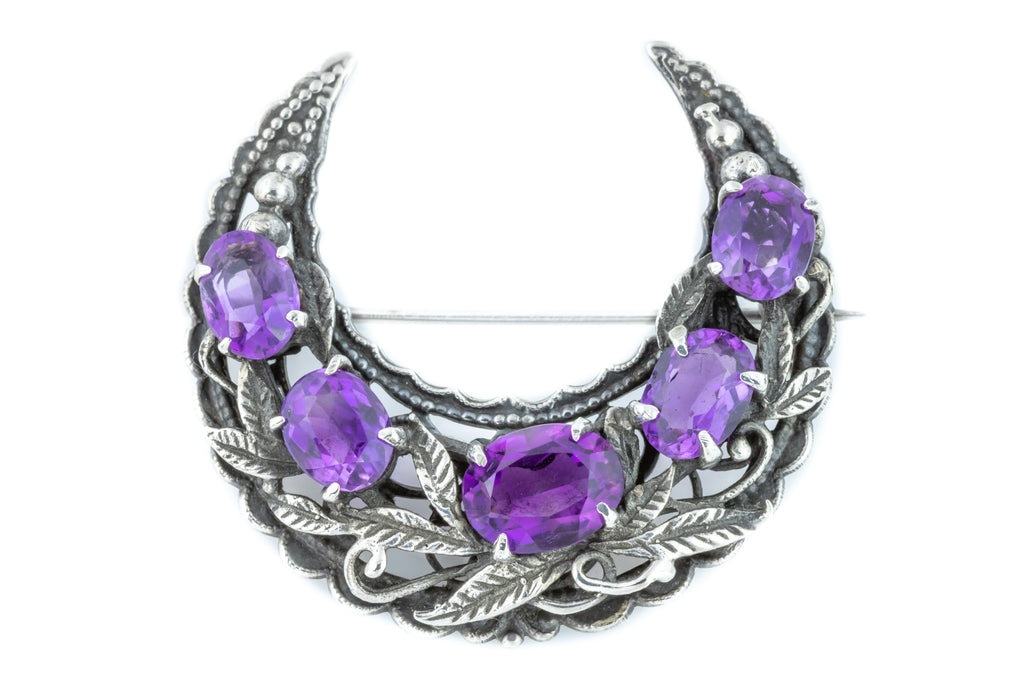 Bernard Instone Crescent Moon Brooch with Amethyst Paste