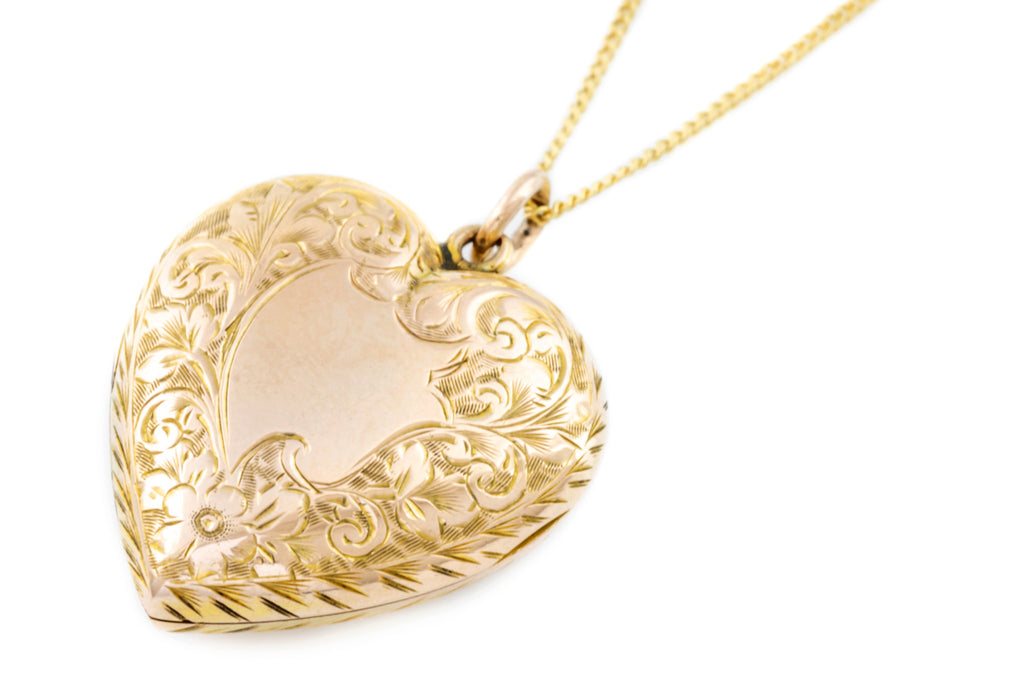 Antique 9ct Gold Heart Locket with Chain