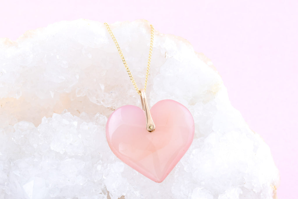 9ct Gold Antique Rose Quartz Heart Charm Pendant