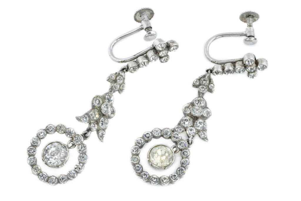 Edwardian Paste Drop Earrings on Screw Backs