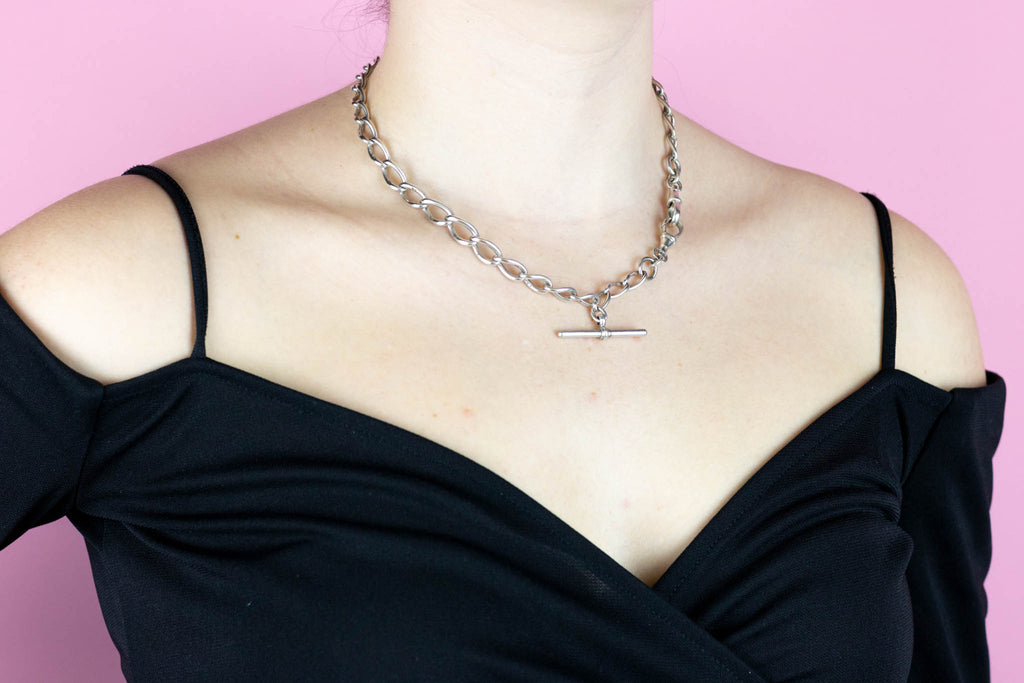 Victorian Silver Albert Chain Necklace
