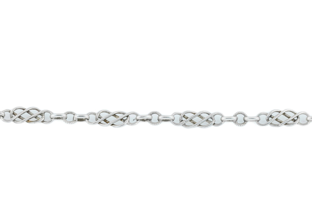 French Silver Arts and Crafts era Long Guard Chain 56""