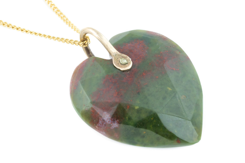 Antique 9ct Gold Bloodstone Heart Charm Pendant